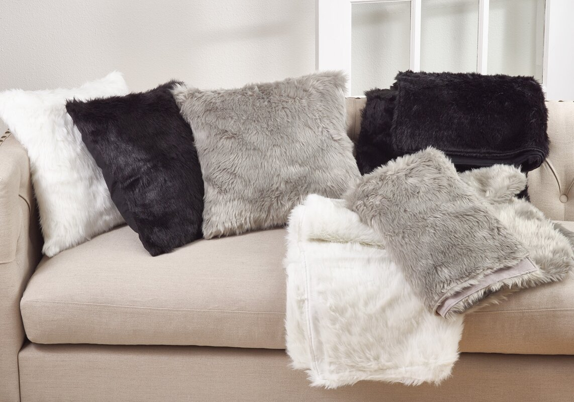 made pillow x salvani faux custom fur decorative decorativ by throw grey ivory in llama