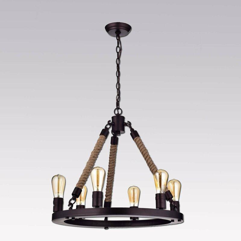 6 Light Wagon Wheel Chandelier: CLAXY Rustic Rope 6-Light Wagon Wheel Chandelier & Reviews