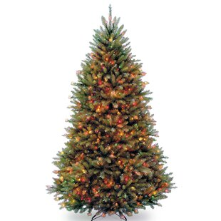 dunhill powerconnect 65 green fir artificial christmas tree with 600 led colored and white lights with stand - Christmas Tree With White Lights And Red Decorations