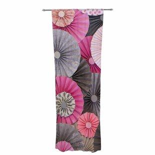 Heidi Jennings Bubble Gum Decorative Graphic Print Text Sheer Rod Pocket Curtain Panels Set Of 2