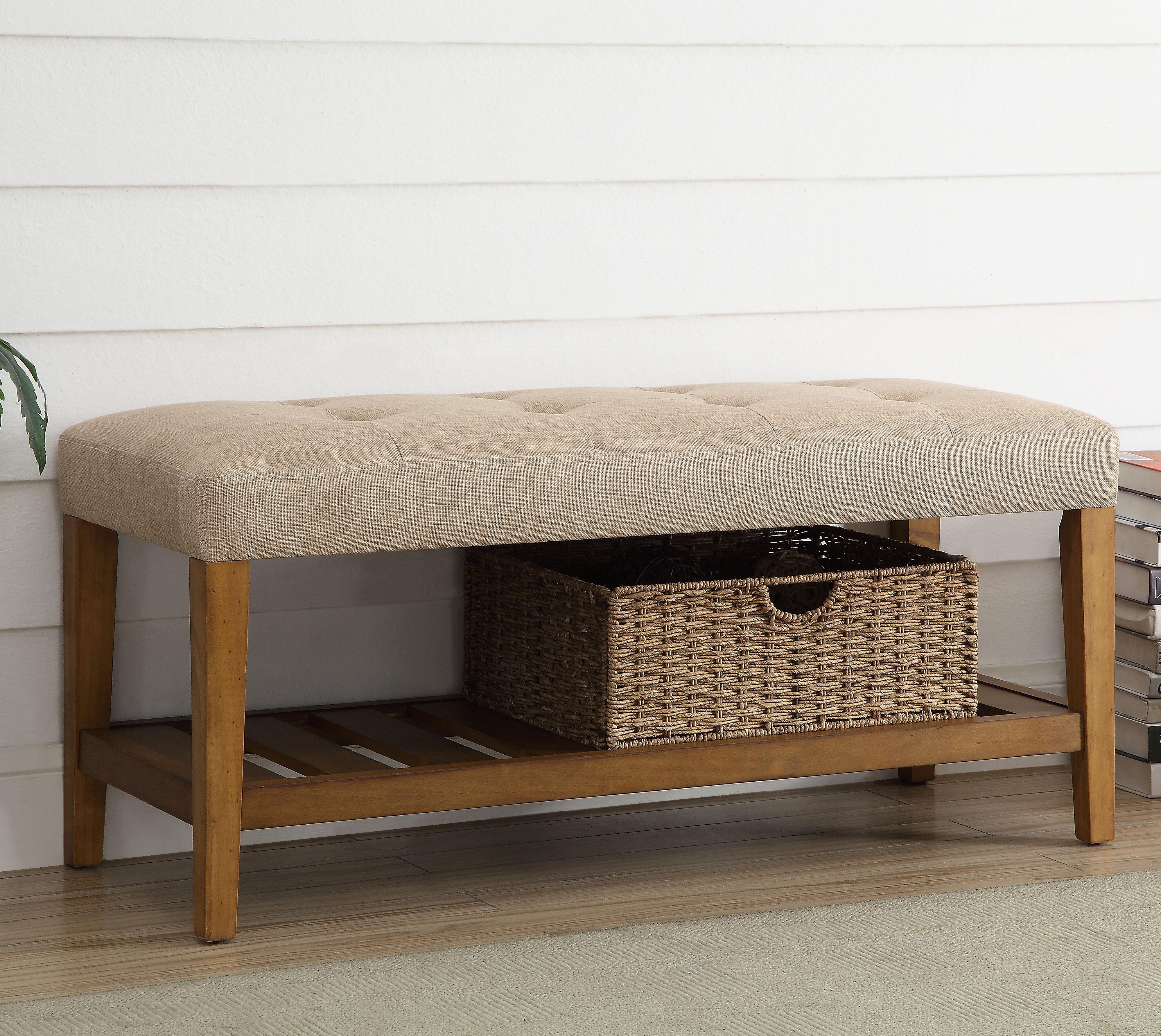 & Charlton Home Warwickshire Wood Storage Bench u0026 Reviews   Wayfair