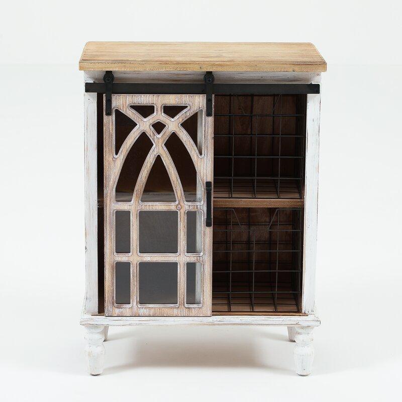 Gracie Oaks Telma Decorative Sliding Wood 1 Door Accent Cabinet Reviews Wayfair