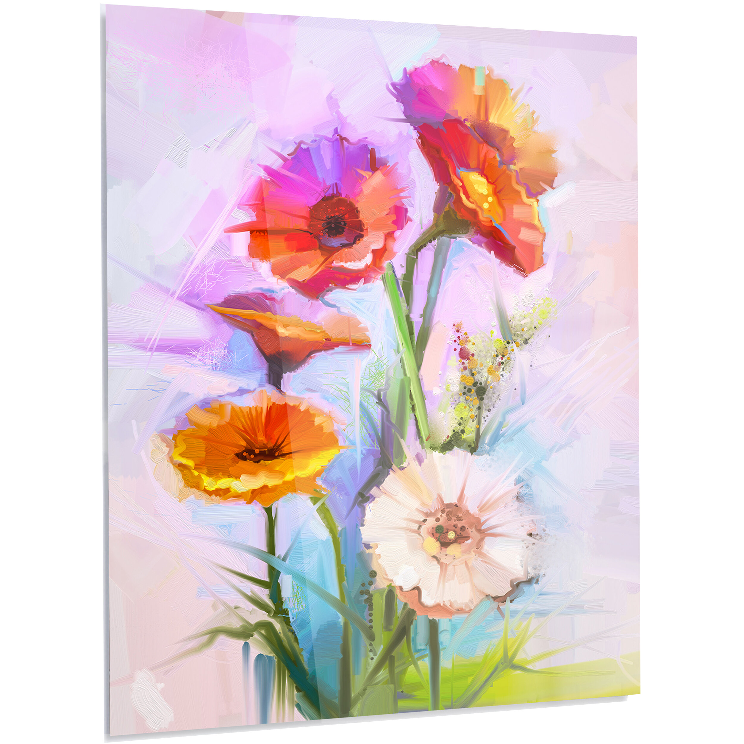 Designart Bouquet Of Red White Flowers Led Painting Print On Metal