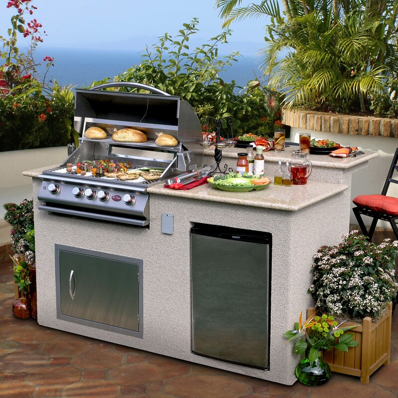 4 Burner Built In Gas Grill Island With Refrigerator Cabinet