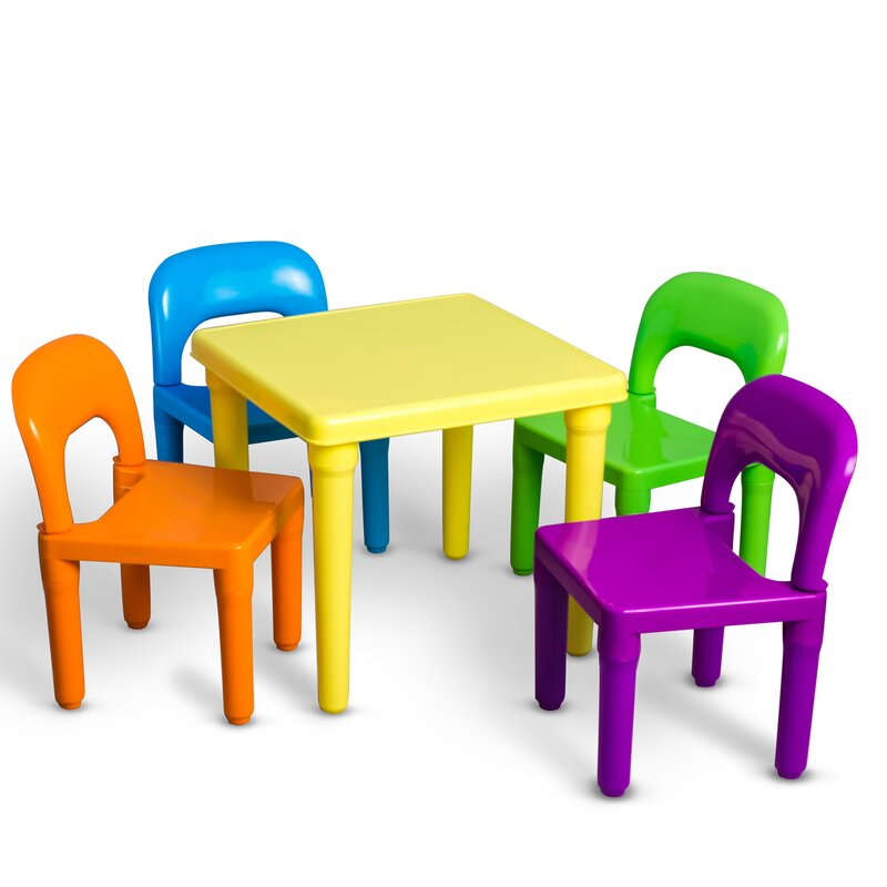 Borges Plastic Kids 5 Piece Table And Chairs Set