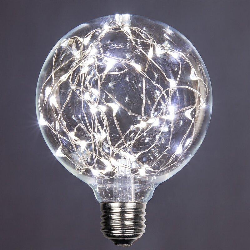 1 Watt Equivalent, G95 LED, Non-Dimmable Light Bulb Cool White (7000K)  E26/Medium (Standard) Base