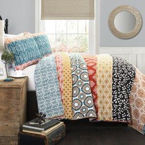 prescott stripe 3 piece reversible quilt set