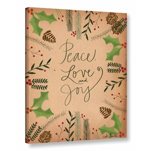 Peace Love Joy Textual Art on Wrapped Canvas