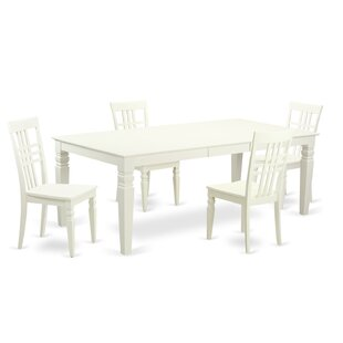 Beesley 5 Piece White Wood Dining Set