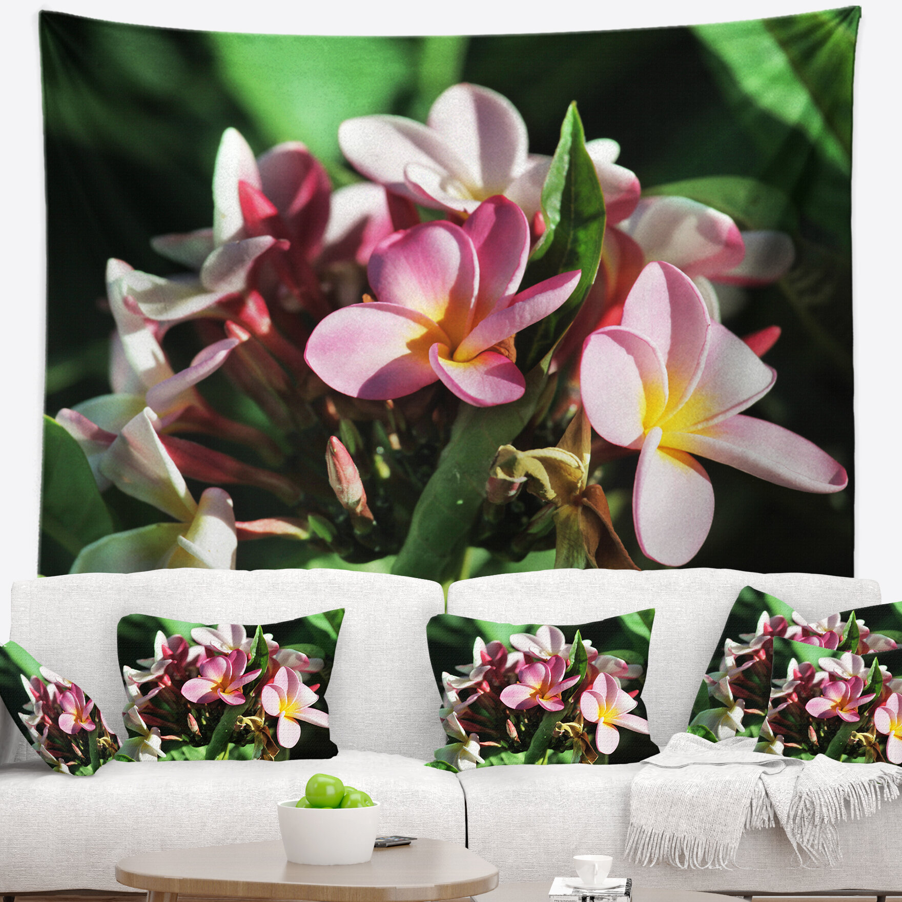 East Urban Home Floral Beautiful Little Pink White Flowers Tapestry
