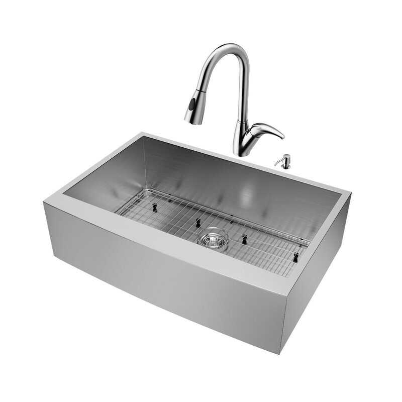 "33"" x 22.25"" Single Bowl 16 Gauge Farmhouse Kitchen Sink with Romano Faucet, Grid, Strainer and Soap Dispenser"