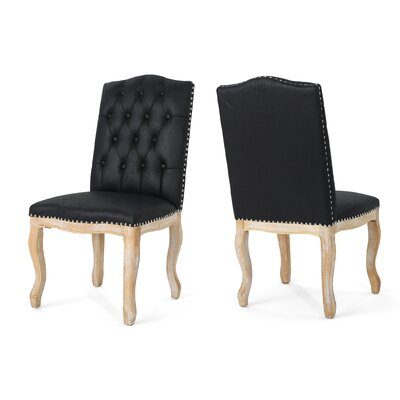 Arend Traditional Upholstered Dining Chair House of Hampton Upholstery Color: Black