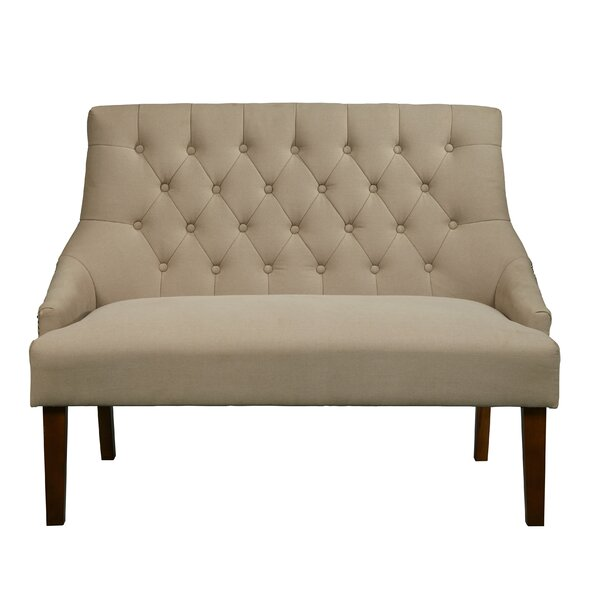 Alcott hill greenacre button tufted upholstered settee for Button tufted chaise settee green