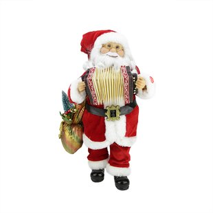 musical standing santa claus christmas figure with accordion
