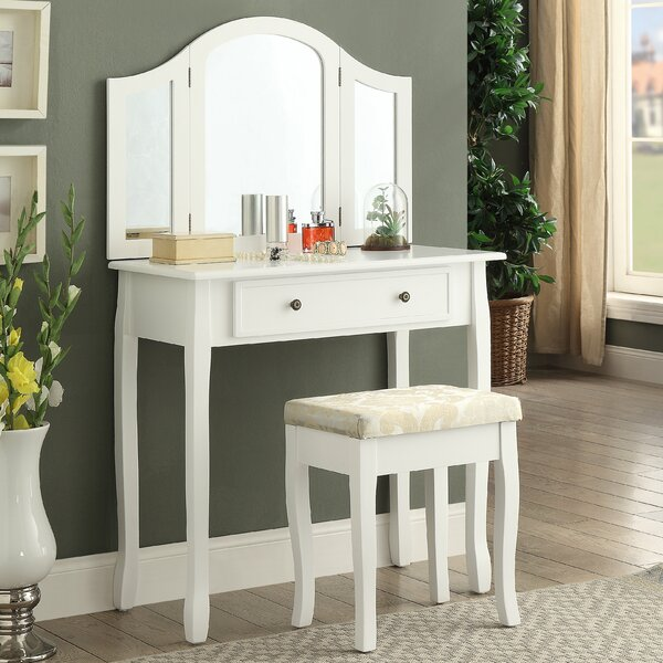Sunny Wooden Vanity Set With Mirror & Reviews