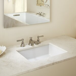Verticyl Impressions Ceramic Rectangular Undermount Bathroom Sink with Overflow
