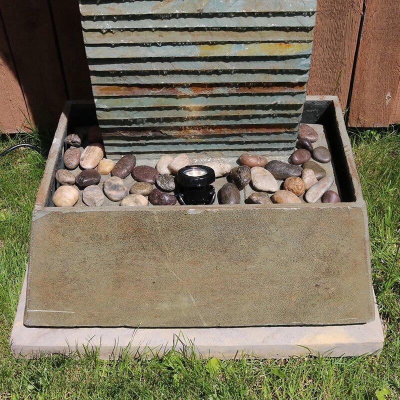 Slate Spiraling Freestanding Garden Water Fountain With Light