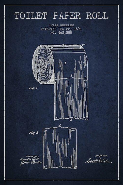 Trent austin design toilet paper navy blue patent blueprint graphic toilet paper navy blue patent blueprint graphic art on wrapped canvas malvernweather Choice Image