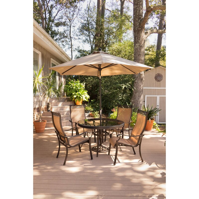 fleur de lis living bucci 5 piece dining set with table umbrella and