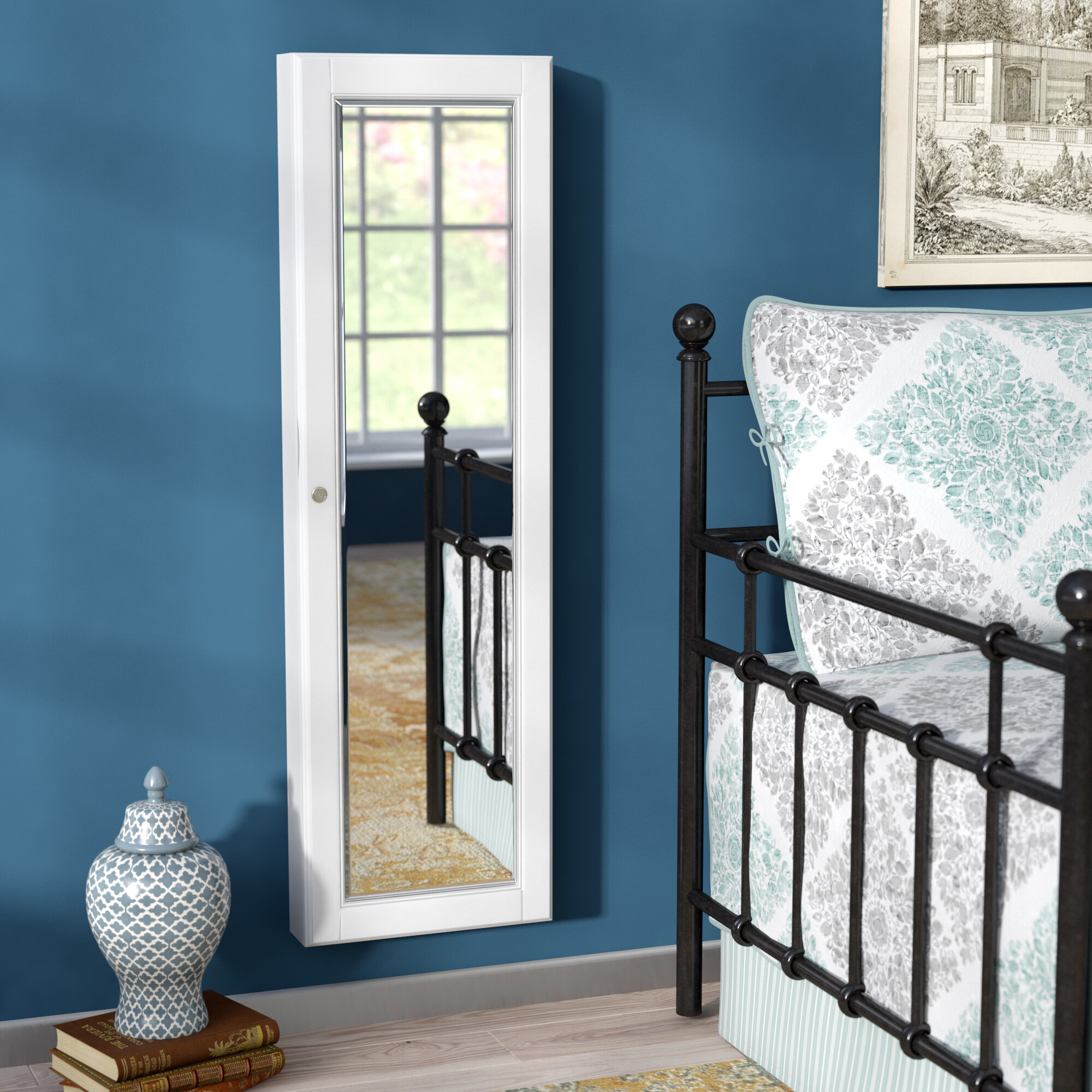 Alcott Hill Flora Wall Mounted Jewelry Armoire with Mirror & Reviews ...