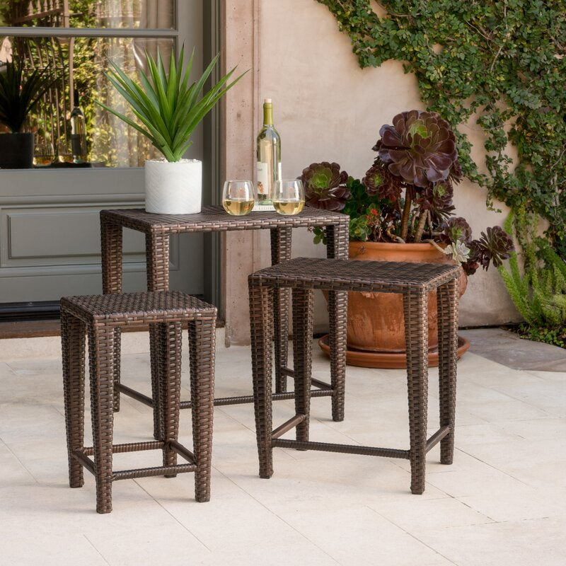 Beau Kinslow 3 Piece Wicker Nesting Table Set