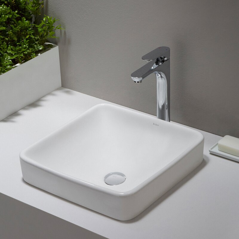 Kraus Elavo Ceramic Square Drop In Bathroom Sink With Overflow Reviews Wayfair