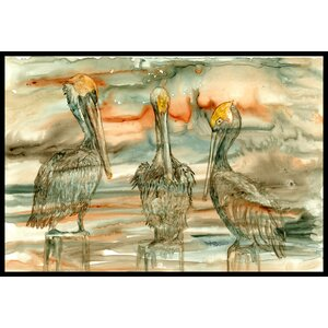 Pelicans on Their Perch Abstract Doormat