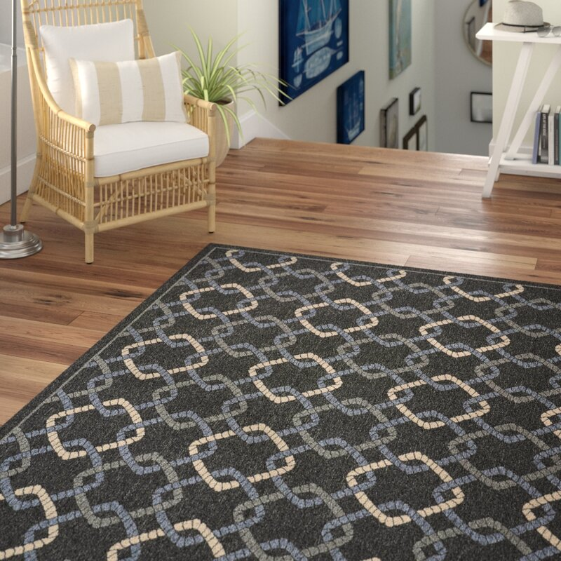 Beachcrest Home Kittrell Charcoal Blue Gray Indoor Outdoor Area Rug