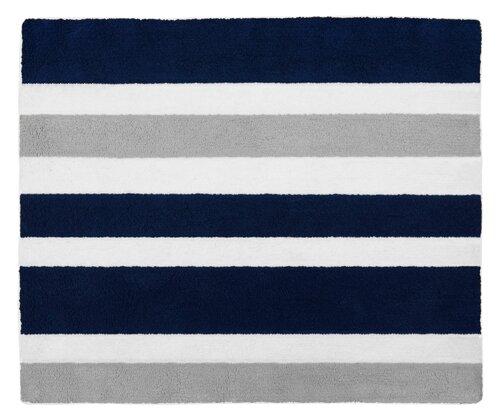 sweet jojo designs stripe hand-tufted navy blue / gray area rug