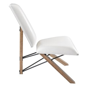 Hahn Slipper Chair in White PU Leather by Adesso