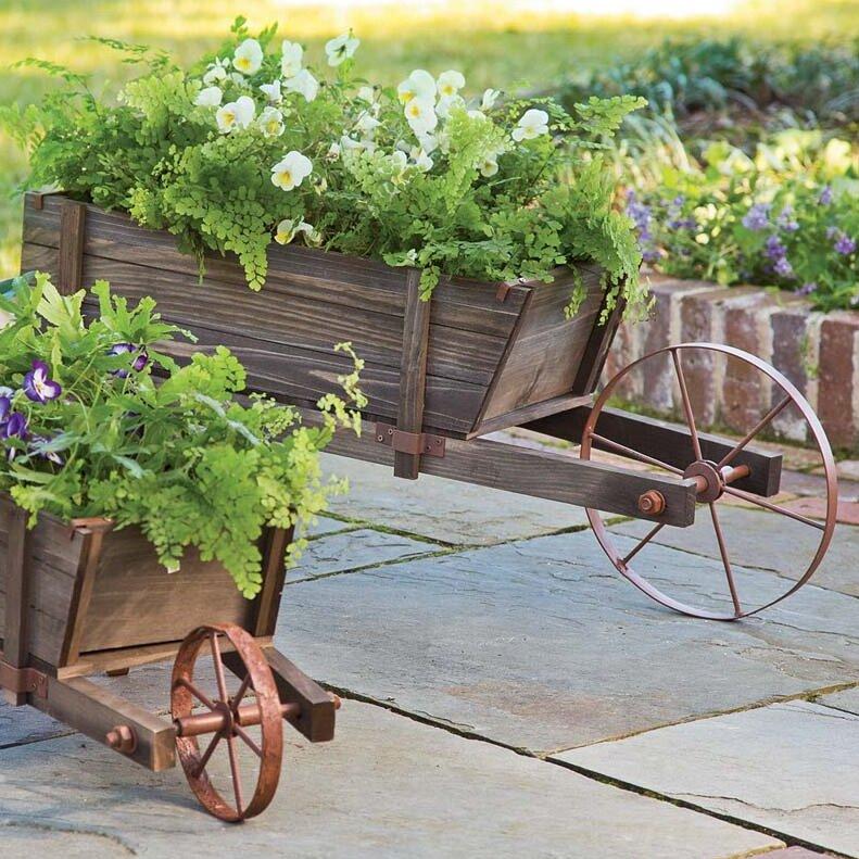 Wood Wheelbarrow: Plow & Hearth Wood Wheelbarrow Planter & Reviews