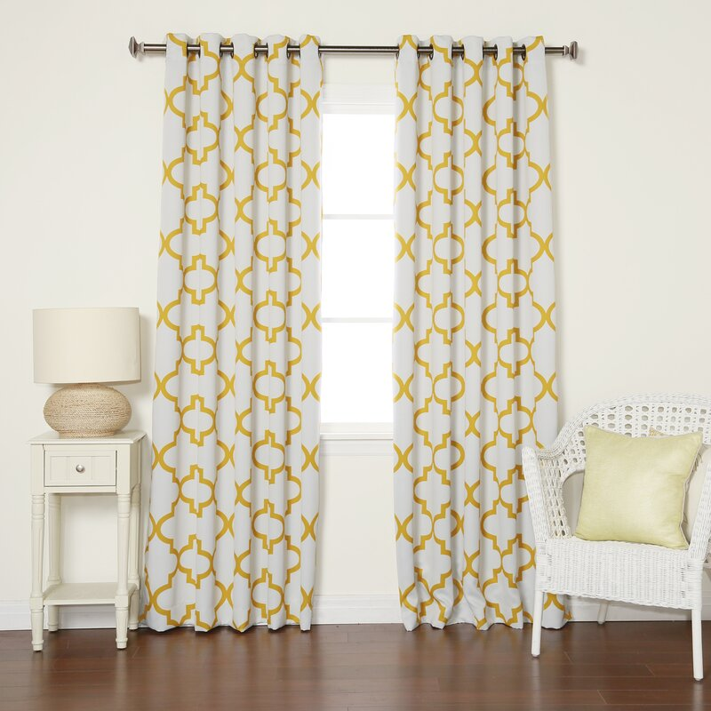 Wellborn Reverse Moroccan Geometric Room Darkening Grommet Single Curtain  Panel