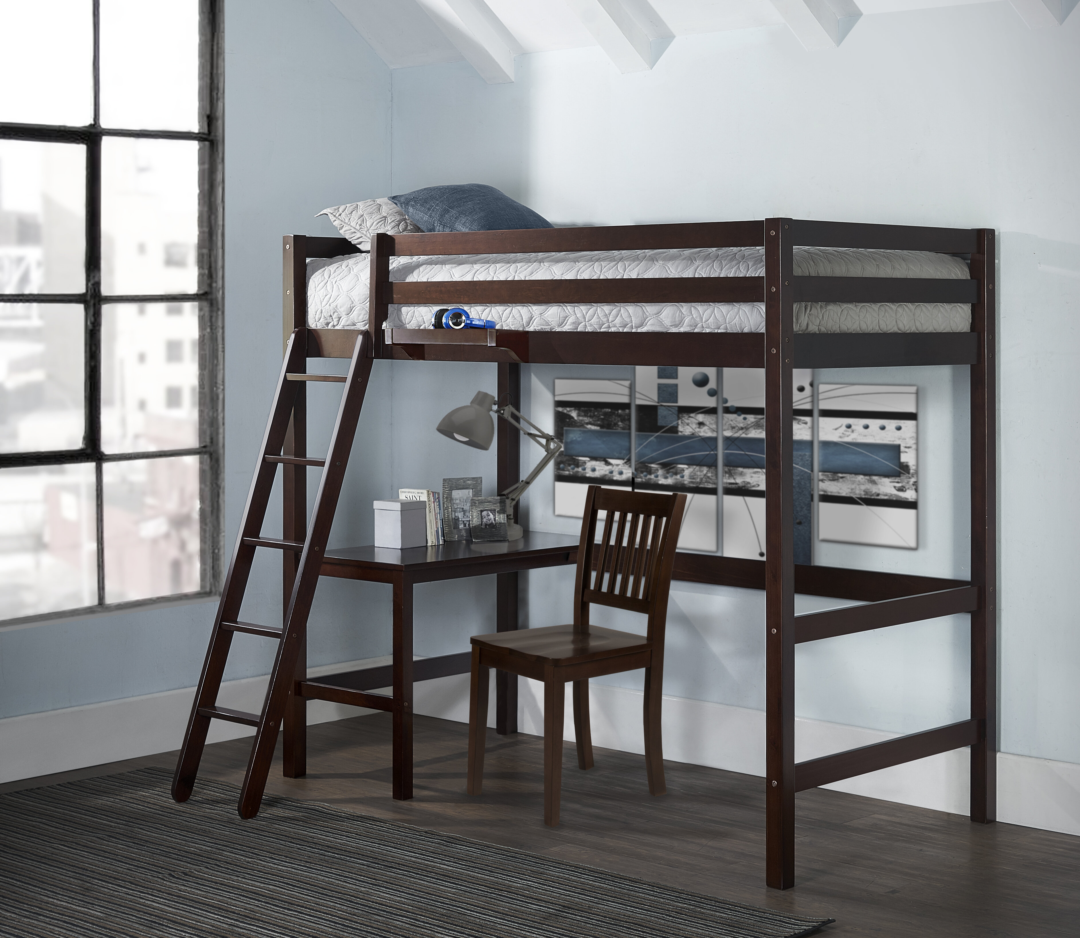 Harriet Bee Hamswell Twin Study Loft Bed With Hanging Nightstand