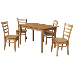 Wellston Butterfly Leaf Extendable 5 Piece Solid Wood Dining Set