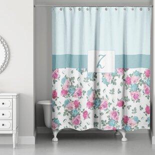 Graciano Floral Monogram Shower Curtain