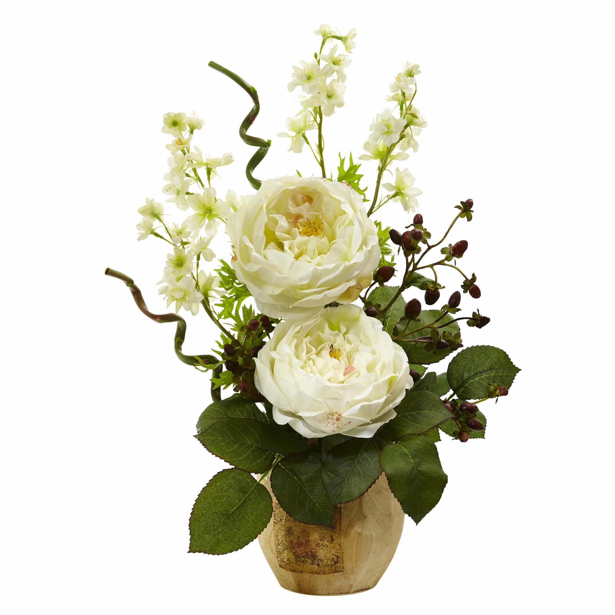 Nearly natural rosedancing daisy floral arrangements in pot wayfair izmirmasajfo