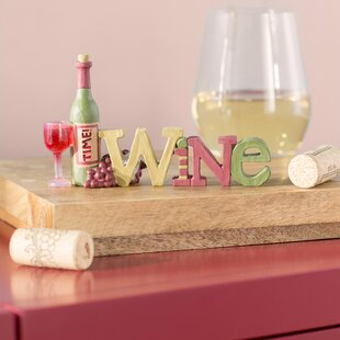 Gardenhire Wine With Bottle/Grapes/Glass Table Sign