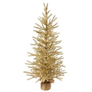 1 5 Gold Artificial Christmas Tinsel Twig Tree In Burlap Base