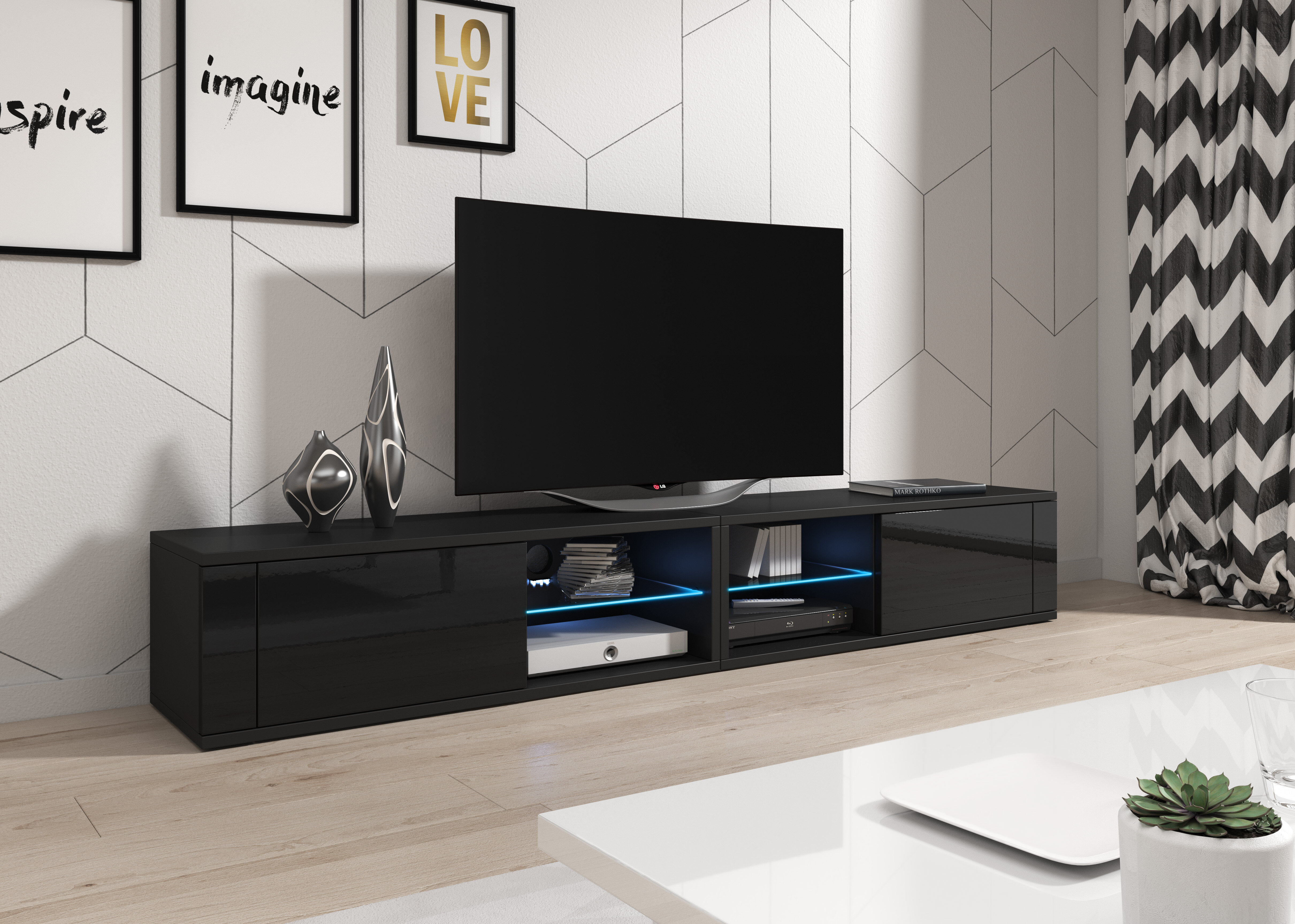 Metro Lane Barton Upon Humber Tv Stand For Tvs Up To 77 With Led Lighting Wayfair Co Uk