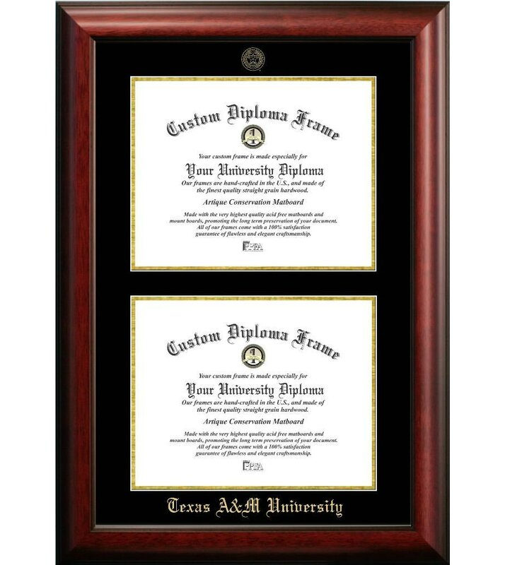 Diploma Frame Deals Texas A & M University Double Degree Diploma ...