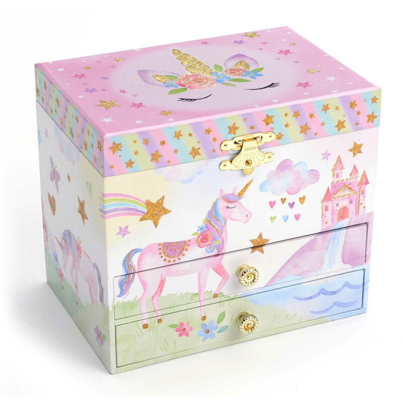 6f85663ce5 Harriet Bee Rainbow Glitter Unicorn Musical Jewelry Box | Wayfair