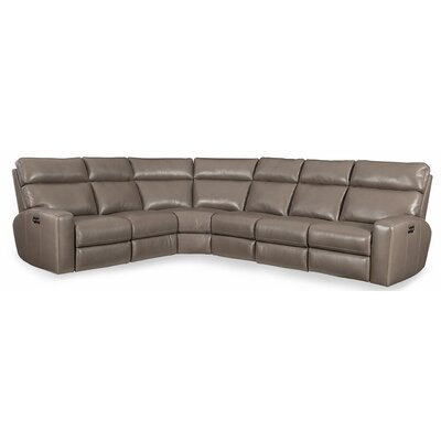 Mowry Leather Reclining Sectional Hooker Furniture Upholstery: Gray