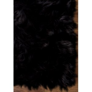 Charlotte Faux Sheepskin Soft Shag Hand-Woven Black Area Rug