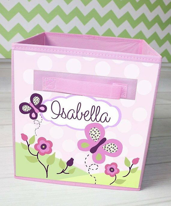 Butterfly Personalized Fabric Bin