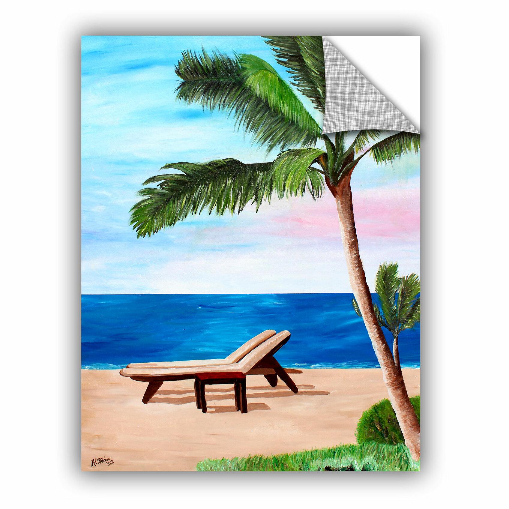 Caribbean Beach: ArtWall ArtApeelz Strand Chairs On Caribbean Beach By