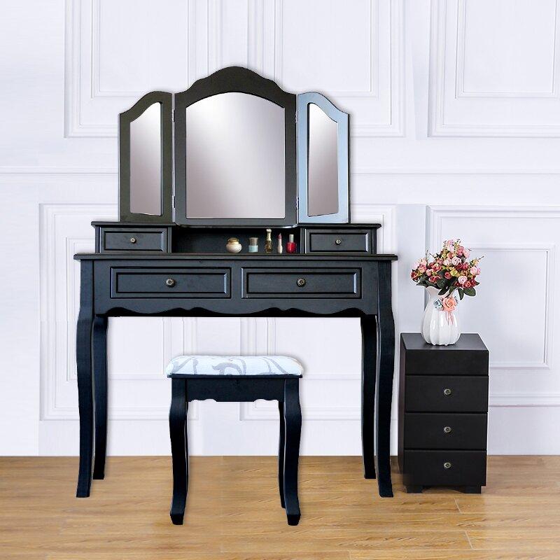 Hilburn Wood 4 Drawer Vanity Set With 3 Folding Mirror