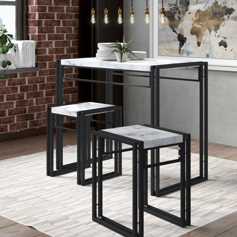 williston forge debby small space 3 piece dining set reviews wayfair. Black Bedroom Furniture Sets. Home Design Ideas
