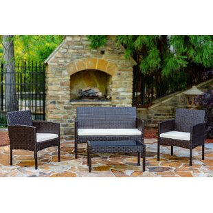 Snag This Hot Sale! Tessio 4 Piece Rattan Sofa Seating Group with Cushions World Menagerie