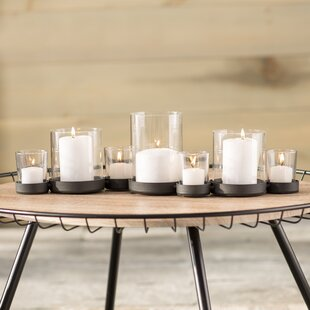 Selby 7 Piece Bubbles Iron Gl Candle Holder Set