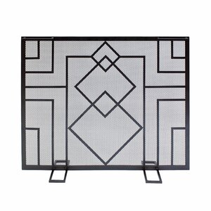 Wright Design Single Panel Iron Fireplace Screen